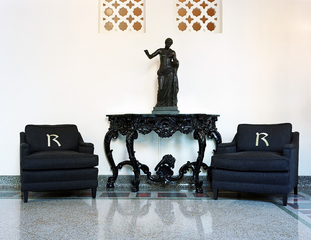 photo displayed in the installation [sofas and statue]